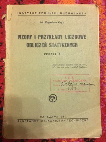 WZORY I PRZYKŁADY LICZBOWE OBLICZEŃ Statycznych 1952 Czyż tanie ksiązk