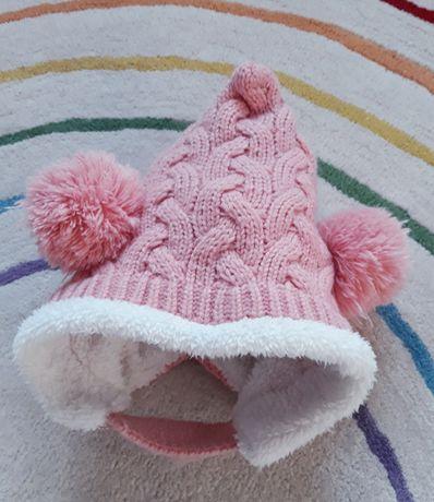 Czapka zimowa bardzo ciepła różowa pompony