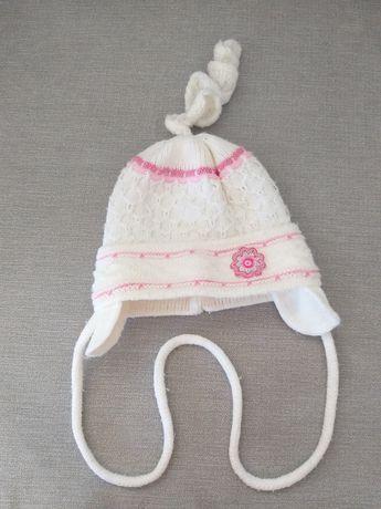 Czapeczka zimowa czapka dla dziewczynki 0-6m wyprawka