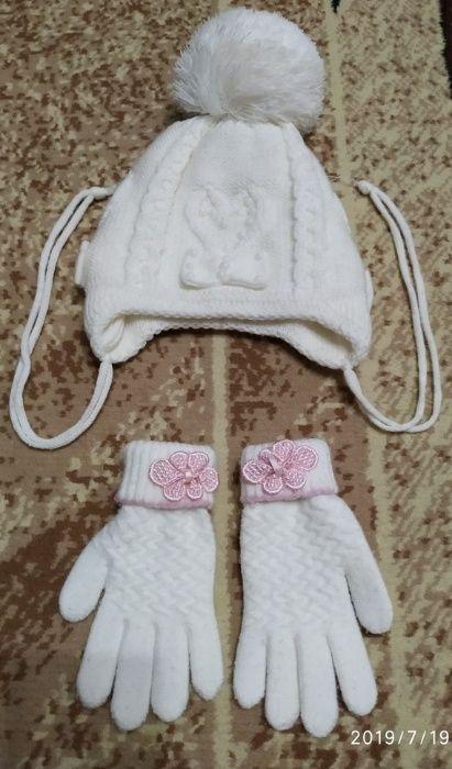 Комплект Зимняя шапка + перчатки размер 50-52 Одесса - изображение 1