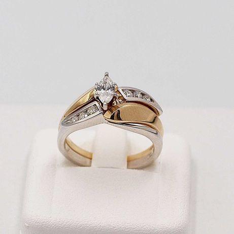 pierścionek składany złoto 585 brylanty certyfikat roz.15