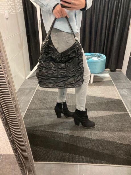 Duża czarna skórzana torebka Ochnik piękna okazja