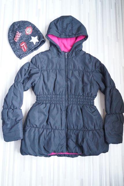 George, kurtka zimowa, ocieplona polarem+czapka gratis, r.146-152