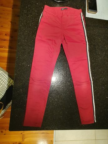 Jegginsy 134 Reserved  spodnie z lampasami bordowe
