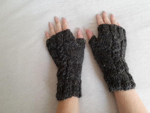 Митенки Черные Варежки Перчатки без пальцев, вязаные спицами, шерсть