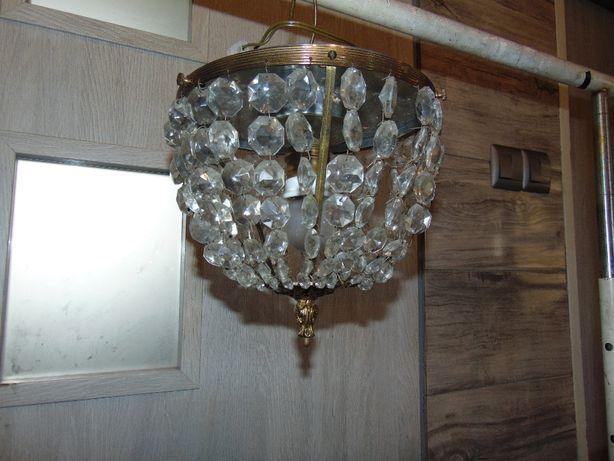 Żyrandol,plafon,mosiężny z kryształkami,lata 30-40.art deco