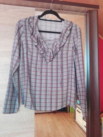 Wiązana bluzka koszula koszulowa wiązaniem s 36 kratka kratkę dekoltem