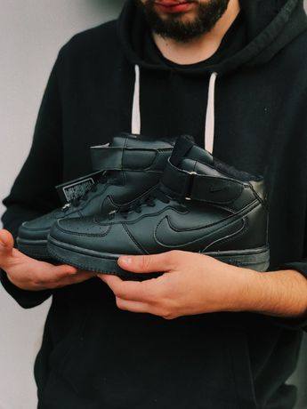 Кроссовки черные Зима НАЙК Аир форс Nike Air Force High Black Winter