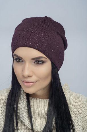 Женская шапка с элементами svarovski шапка из шерсти