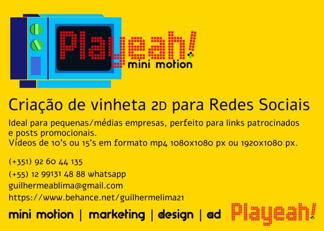 Criação de vinheta 2D, banners, folders para redes sociais e empresas