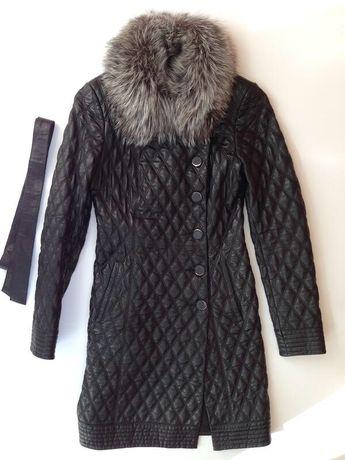 Стильный и очень женственный кожаный френч пальто