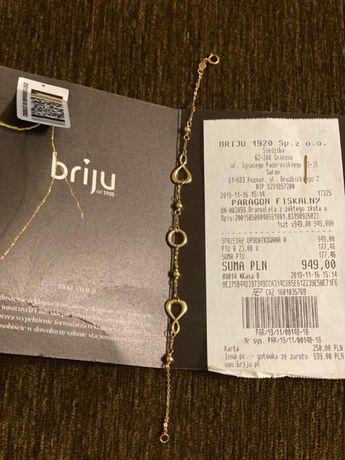 Złota bransoletka firmy Briju próba 585 dł. 19 cm, pełna