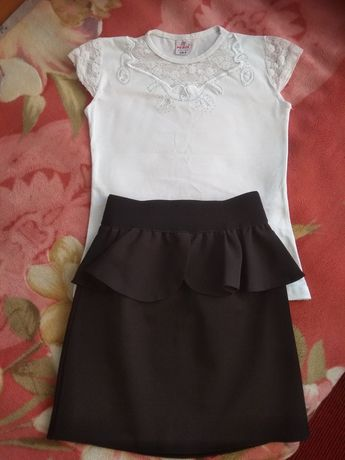 Школьная форма, юбка, футболка, блузка. 122-128