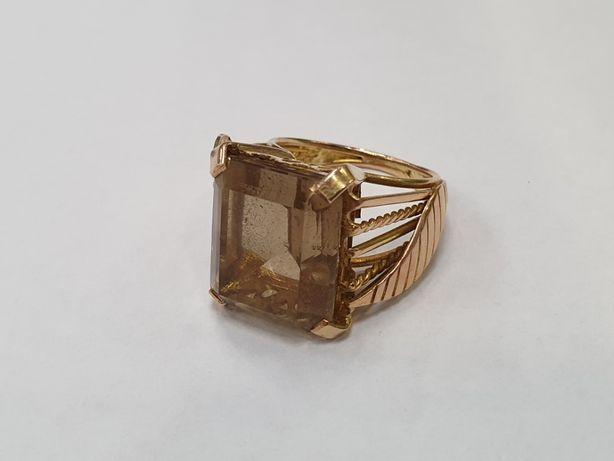 Wyjątkowy złoty pierścionek damski/ Topaz/ 585/ 10 gram/ R14/ Gdynia