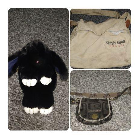 Duża torba na ramię, torebka, plecak/torba królik czarny