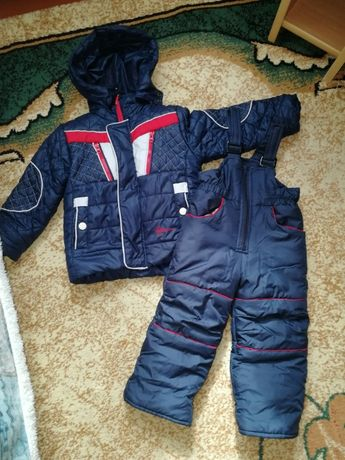 Зимняя куртка с комбенизоном для мальчика на рост 86 см