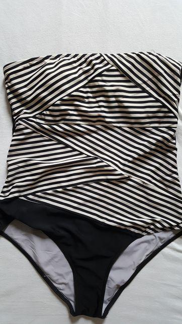 Kostium kąpielowy XL strój w czarno-biale paski