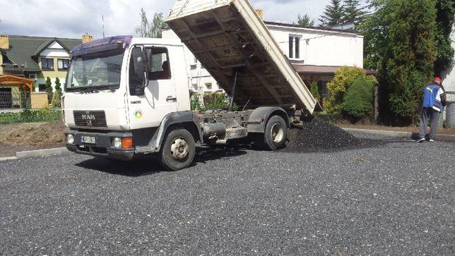 Utwardzanie terenu kruszywo ceglano betonowe żwir drogowy tłuczeń