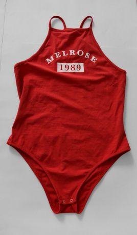 sportowe czerwone body S 36 modne z napisem