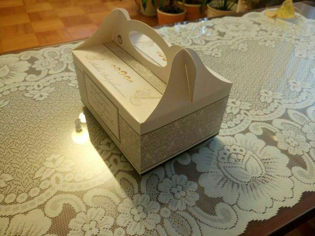 Duże pudelko na ciasto dla gosci weselnych. Podziękowania