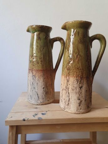 Wazon gliniany ceramika szkliniona vintage - zieleń