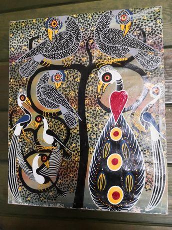 """Obraz olejny African Art , Maiko """"Drzewo miłości"""" antyk"""