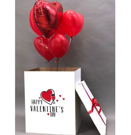 Коробка-сюрприз с летающими шарами подарок на праздник