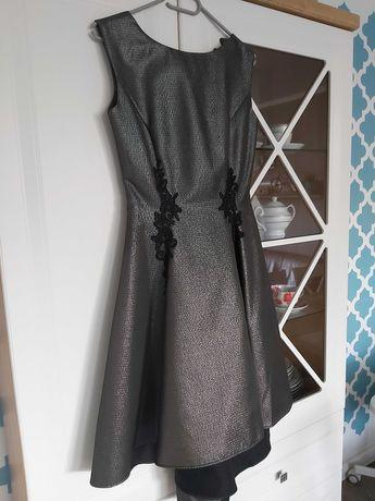 Sukienka na wesele czarno-srebrna 34 XS