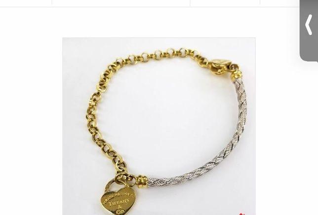 Браслет Тиффани с сердечком из белого и лимонного золота