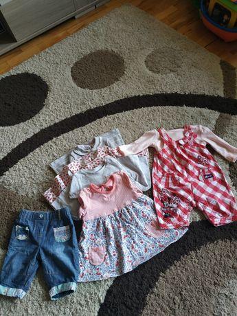 Zestaw ubranek dla dziewczynki 56-62, sukienki, ogrodniczki, body
