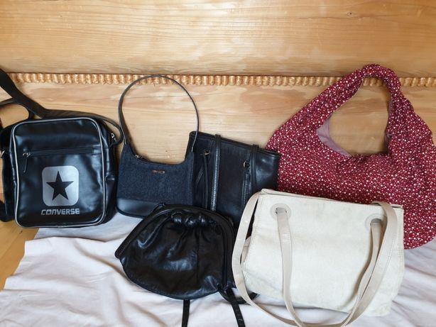 torebka czarna skórzana,torba Converse,sztruksowa kwiaty, kremowa