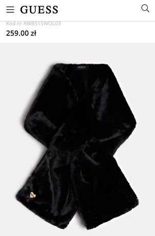 Guess szalik komin czarny futerkowy