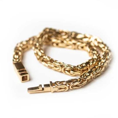 Bransoletka złota splot królewski