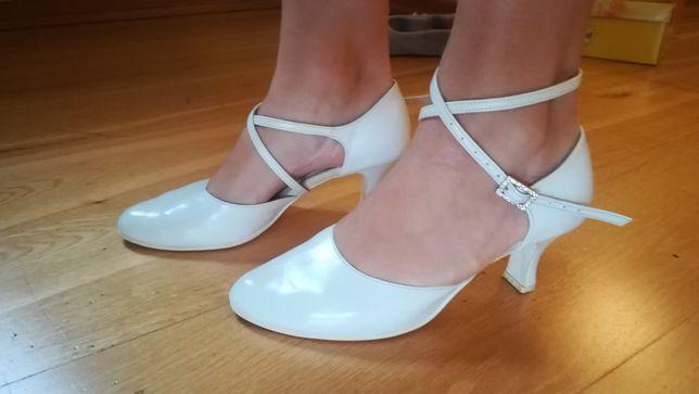 Skórzane pantofle ślubne 38 Powiedz tak 6cm obcas stabilny. Do tańca.