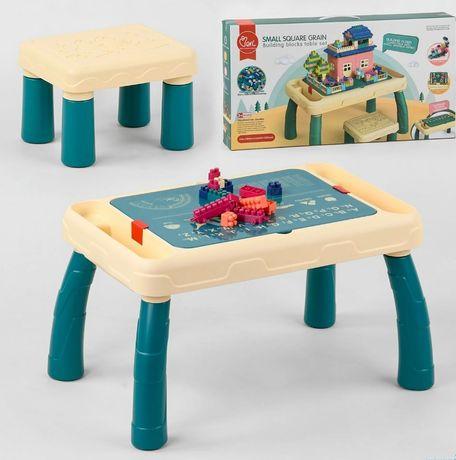 Игровой стол конструктор 6060Y, 120 деталей, со стульчиком