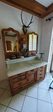 Toaletka kredens  z marmurowym blatem ludwikowski styl antyk