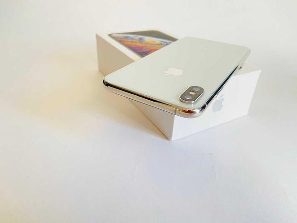 iPhone Xs Max 64 GB silver, oryginalny zestaw ,  etui