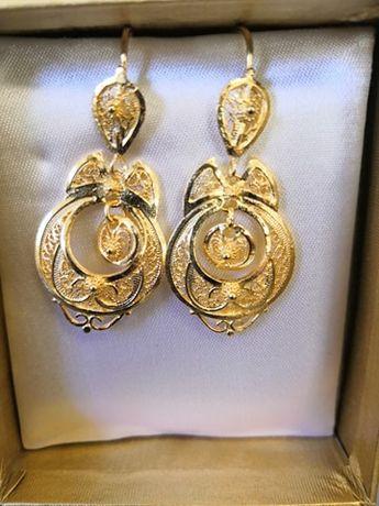 Brincos em Filigrana Portuguesa (Prata Dourada, feita à mão)