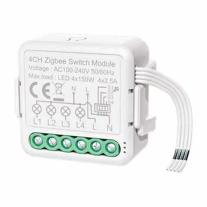 Tuya ZIGBEE 4 relés Smart Home Domótica Alexa Google Assistant