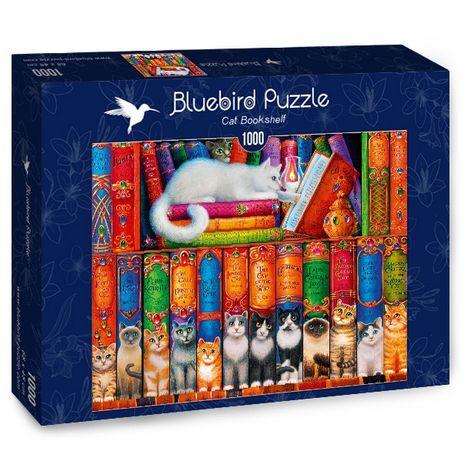 Puzzle Bluebird 1000 Peças 70344 Cat Bookshelf - NOVO
