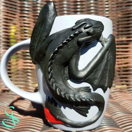 Игрушка кружка чашка с декором БЕЗЗУБИК полимерная глина ручная работа