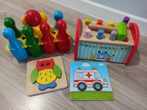 Zabawki wbijak drewniany, kręgle, układanka, puzzle