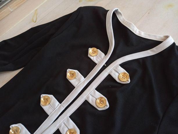 Elegancki dzianinowy blezer M/ L, złote guziki, marynarski styl