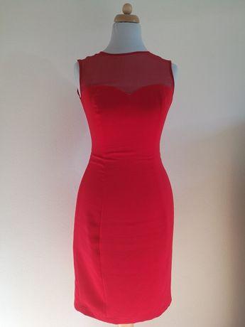 JO-LI czerwona sukienka, jedwab