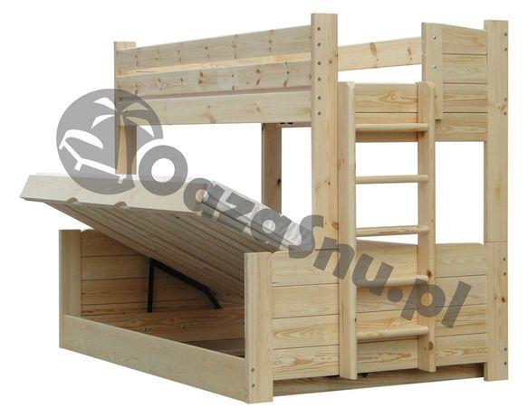 łóżko piętrowe OMEGA 120x200 trzyosobowe z otwieranym pojemnikiem