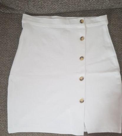 Biala spodniczka olowkowa h&m nowa z metka 36/s guziki