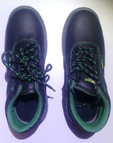 Buty robocze BHP Nieużywane rozm.39, Skórzane, czarno-zielone S1P High