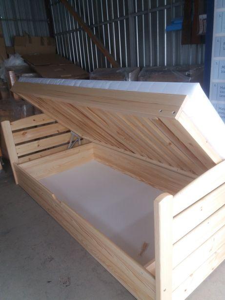Łóżko drewniane sosna z materacem nowe