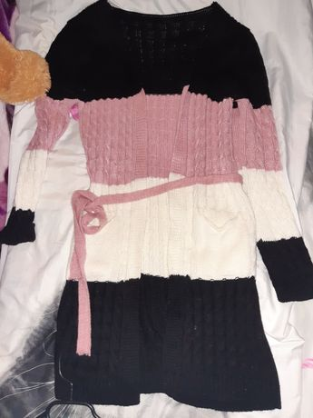 Dłuższy sweterek kardigan roz M
