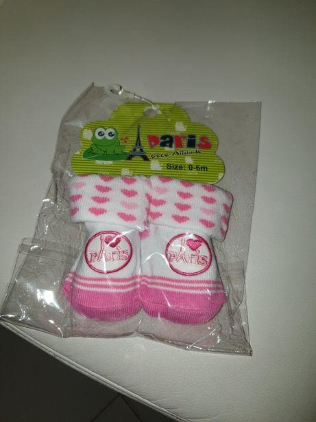 Meias de bebê rosa